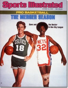 Dave Cowen Celtics & Julius Earvin Nets in One Big League: Pro Basketball Issue October 25, 1976 X 20811 credit: Irving Penn - assign